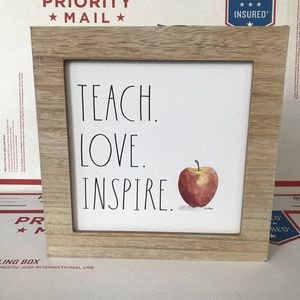 NEW Rae Dunn TEACH LOVE INSPIRE Teacher Wood